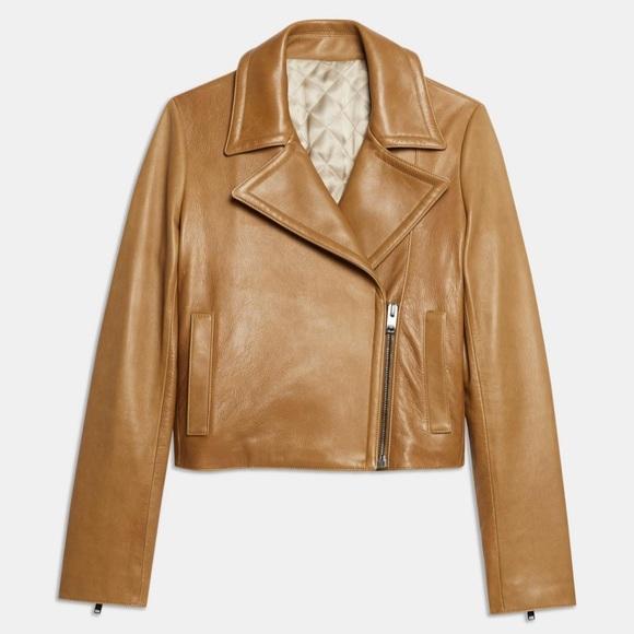 Theory Jackets & Blazers - Theory distressed tan leather jacket Size 4 NWT
